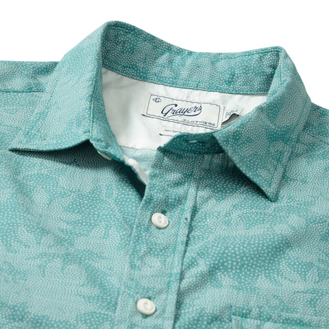 Camo Leaf Print Slub Twill Shirt Short Sleeve Shirt - Camo Leaf