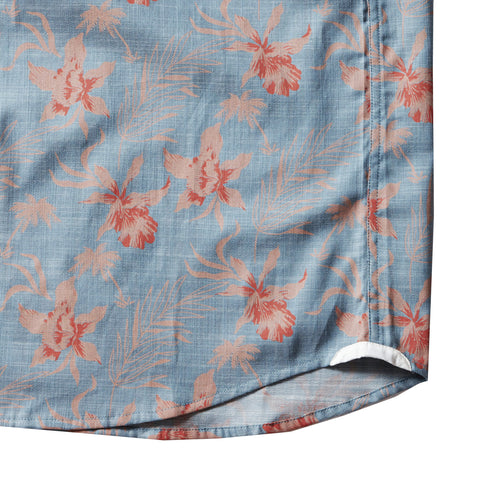 Tropical Floral Print Slub Twill Shirt Short Sleeve Shirt - Tropical Print