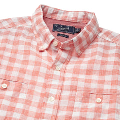 Carleton Gingham Linen Cotton Shirt - Burnt Sienna
