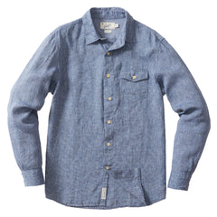 Arden Linen Shirt - Blue Pin Stripe