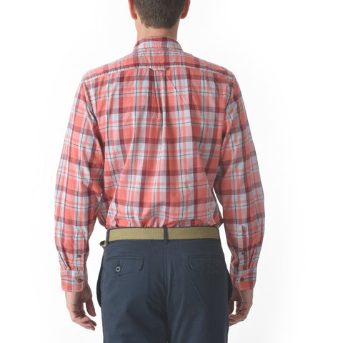 Sandover Poplin Shirt - Peach Red Plaid-Grayers