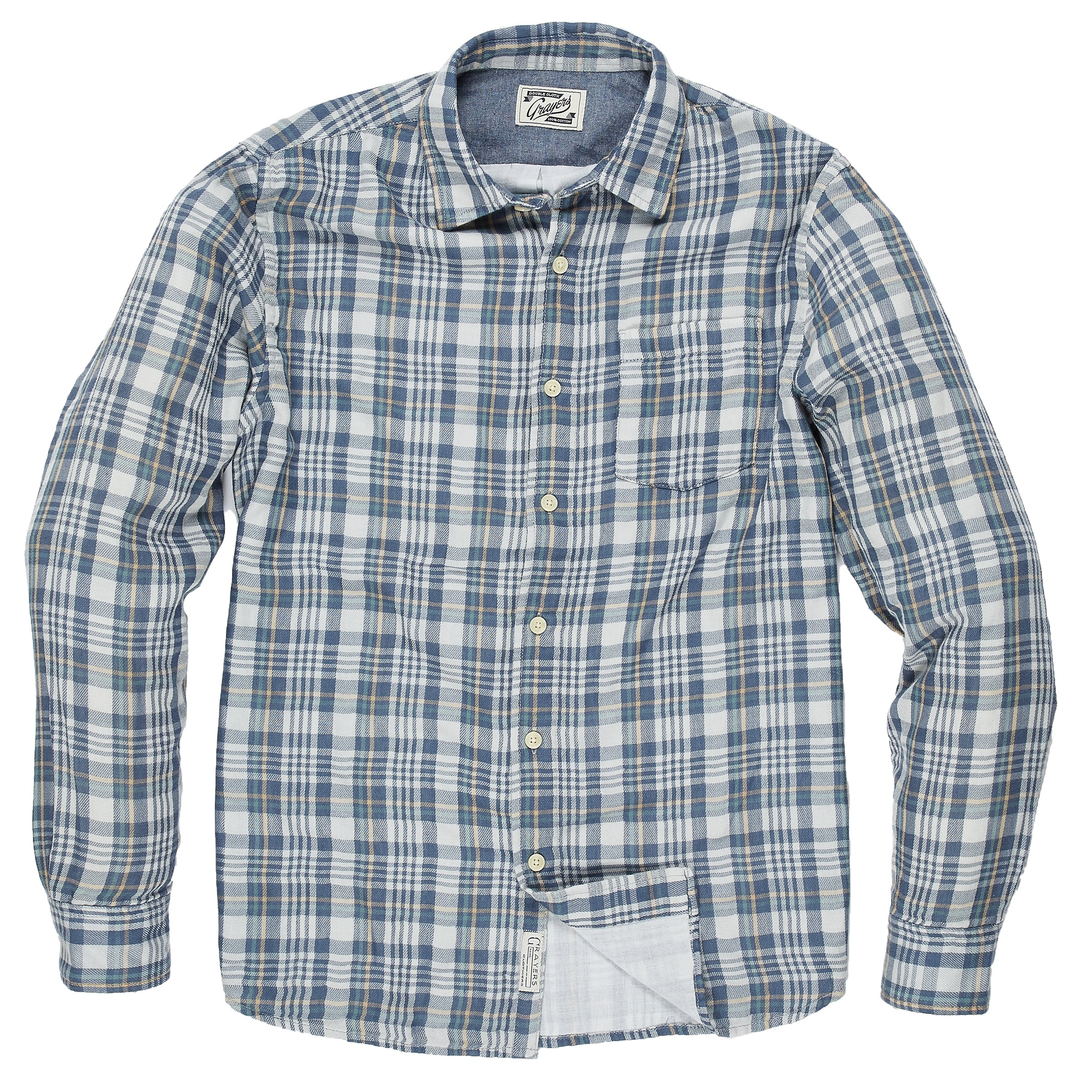 Abercorn Double Cloth Shirt - Blue Gray Plaid