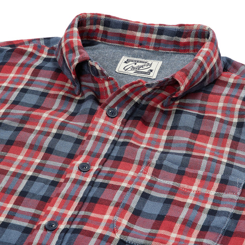 Archer Double Cloth Shirt - Red Navy Gray Plaid