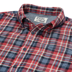 Archer Double Cloth Shirt - Red Navy Gray Plaid-Grayers