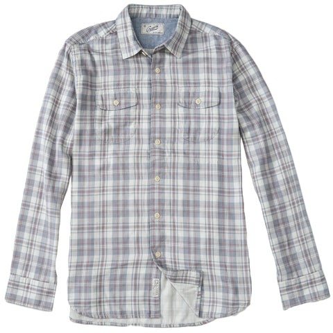 Douglas Double Cloth Shirt- Charcoal Cream Jaspe Plaid