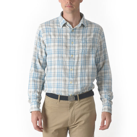 Bridge Summer Twill Shirt - Blue Brown Plaid