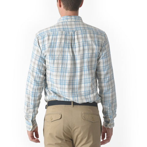 Bridge Twill Shirt - Blue Brown Plaid-Grayers