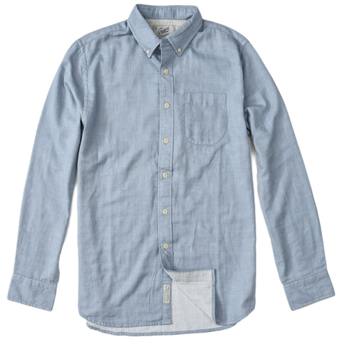 Byron Double Cloth Henley - Gray Marl Flint Blue