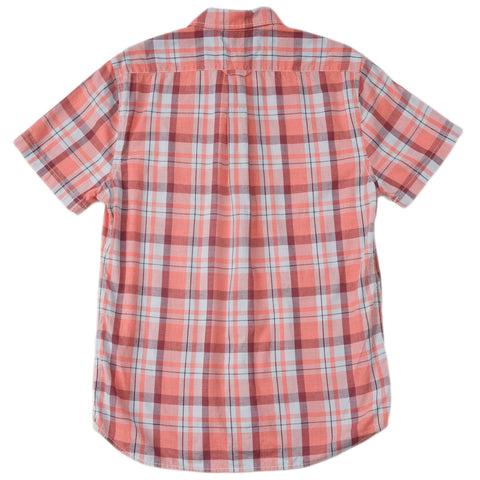 Sandover Poplin Short Sleeve Shirt - Peach Red Plaid