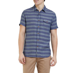 Folsom Horizontal Double Cloth Short Sleeve Shirt - Indigo Stripe-Grayers