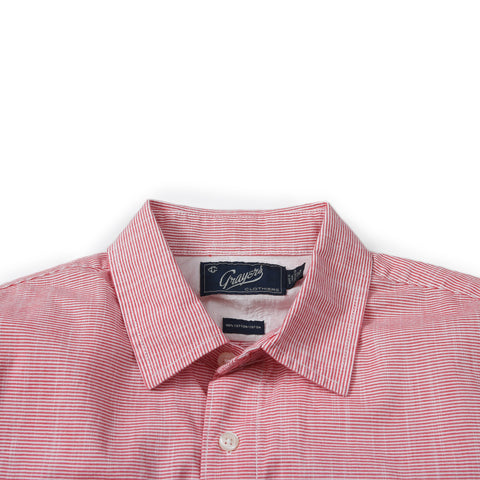 Stewart Microstripe Summer Chambray Shirt- Red Cream Stripe SLIM FIT