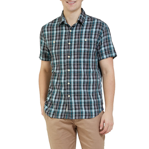 Redford Summer Slub Twill Short Sleeve Shirt - Gray Seafoam