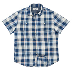 Sylvan Summer Slub Twill Short Sleeve Shirt - Navy Blue Cream
