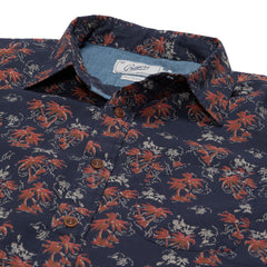 Burning Palm Summer Plain Weave Short Sleeve Shirt - Carbon Spice Coral-Grayers