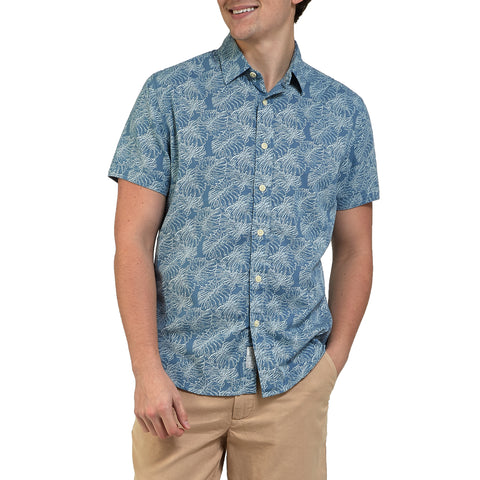 Leaf Print Summer Plain Weave Short Sleeve Shirt - Moonnight Blue-Grayers