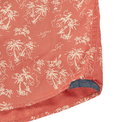 Red Palm Island Summer Plain Weave Short Sleeve Shirt - Cream Palm Tree Print On Red-Grayers