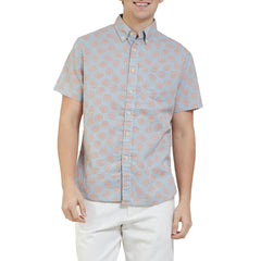 Blue Palm Leaf Summer Plain Weave Short Sleeve Shirt - Red Leaf On Blue-Grayers