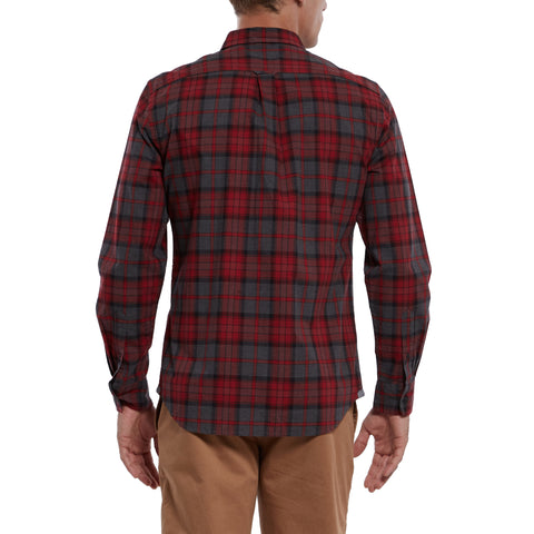 Hollsman Heather Poplin Shirt - Red Charcoal-Grayers