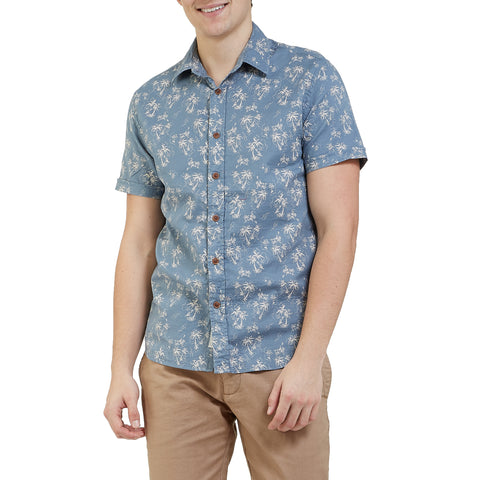 Palm Island Printed Double Cloth Short Sleeve Shirt - Palm Print
