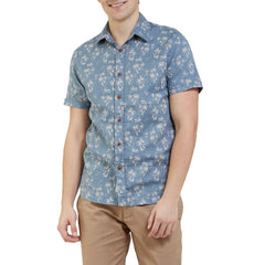 Palm Island Printed Double Cloth Short Sleeve Shirt - Palm Print-Grayers