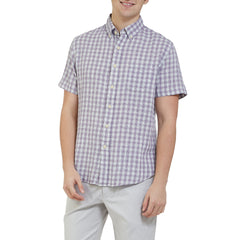 Grove Mini Check Heather Summer Twill Short Sleeve Shirt - Lavender