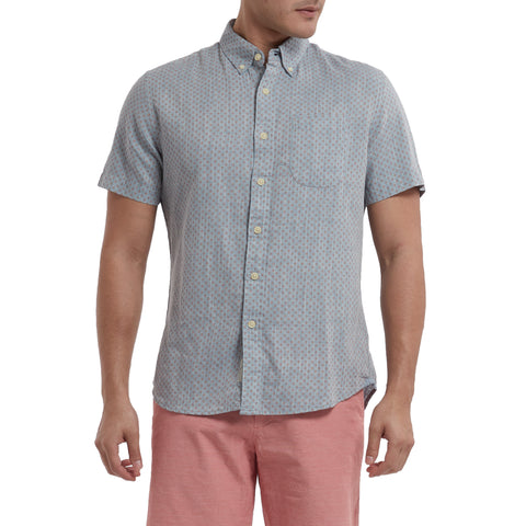 Ahab Printed Summer Twill Short Sleeve Shirt - Blue Print-Grayers