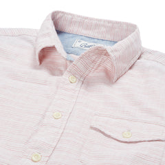 Horizon Summer Twill Short Sleeve Shirt - Melon Cream Stripe-Grayers