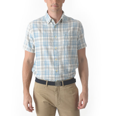 Bridge Summer Twill Short Sleeve Shirt - Blue Brown Plaid