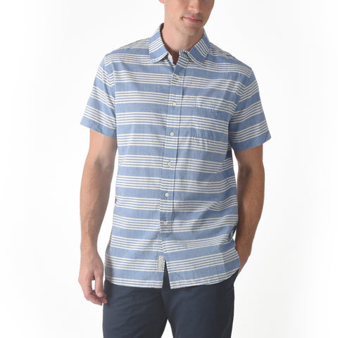Sheffield Chambray Short Sleeve Shirt - Blue Cream Stripe-Grayers