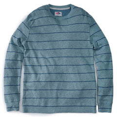 Baird Stripe Double Cloth Thermal Crew - Green Blue/Navy-Grayers