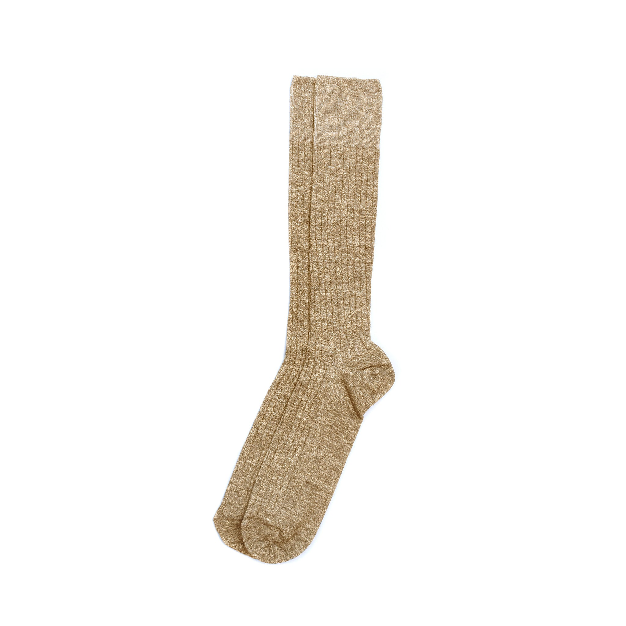 American Trench Linen & Cotton Dress Rib Sock - Khaki