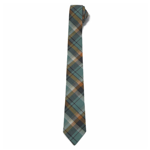 Herringbone Tie - Teal Gray Plaid