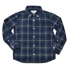 Boy's Brushed Oxford Shirt - Blue Heather Cream Plaid-Grayers