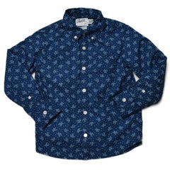 Boy's Floral Printed Poplin Shirt - Indigo-Grayers