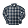 Boy's Double Cloth Shirt - Gray Blue Heather Herringbone Plaid