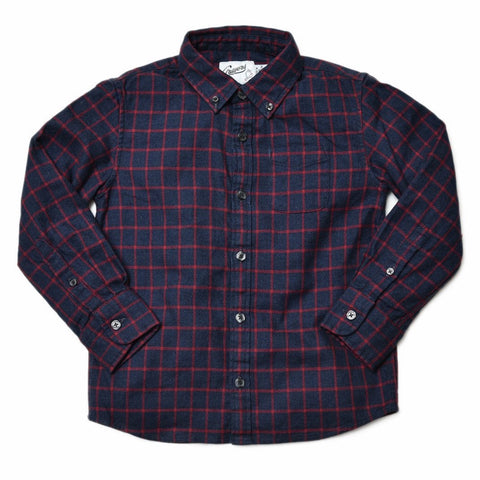 Boy's Orleigh Summer Weight Poplin - Red Blue Plaid