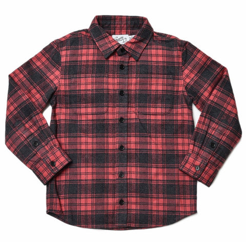 Boy's Heritage Flannel Shirt - Red Cream Jaspe