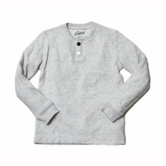 Boy's Double Cloth Heather Henley - Heather White-Grayers