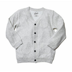 Boy's Double Cloth Cardigan - Heather White-Grayers