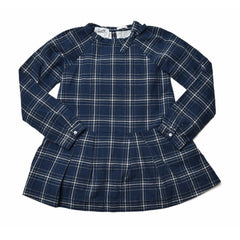 Girl's Drop Waist Dress - Blue Heather Plaid-Grayers