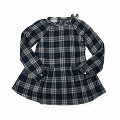 Girl's Drop Waist Dress - Gray Blue Heather Plaid-Grayers