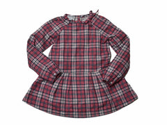 Girl's Drop Waist Dress - Red Navy Cream Plaid-Grayers