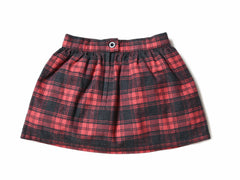 Girl's Flannel Skirt - Charcoal Red Plaid-Grayers