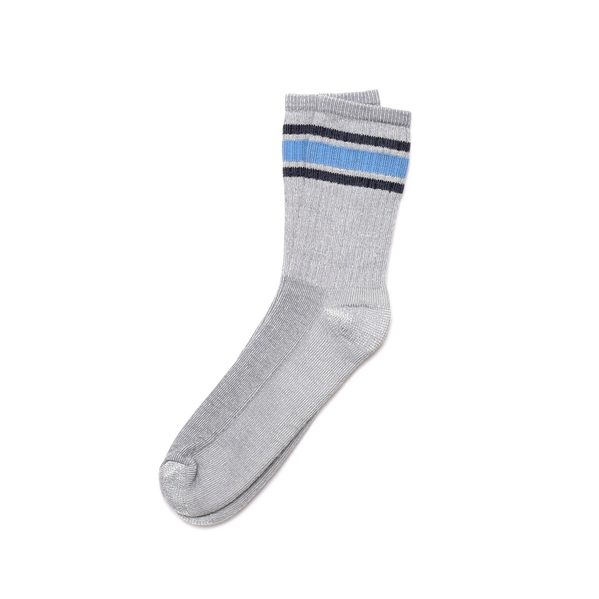American Trench Merino Activity Sock - Silver Body With Black / Lt Blue
