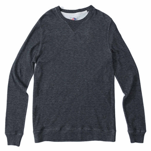 Cabana Stripe Crew - Navy Light Gray