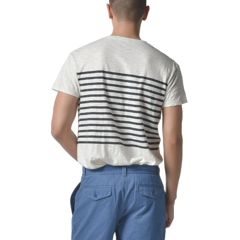 Breton Stripe Tee - Chalk / Blue Graphite-Grayers