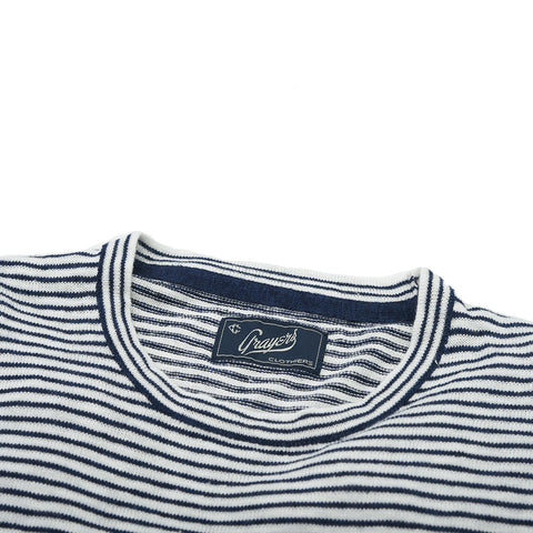 Peter Crew Sweater - Navy Cream Stripe