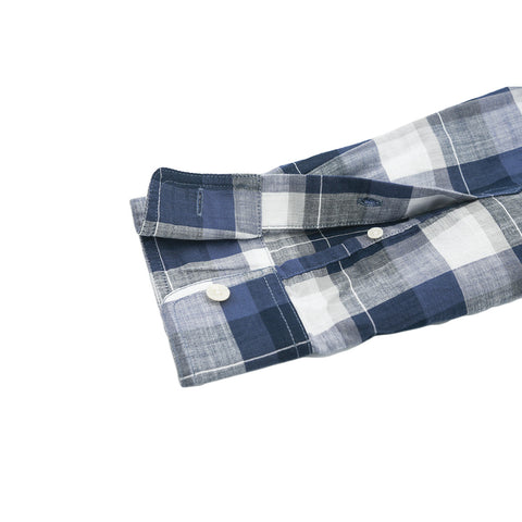 Odin Summer Weight Poplin Shirt - Navy Blue Cream Plaid
