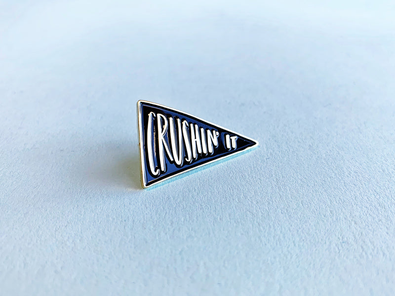 Crushin' It black and gold lapel pin - Craft Boner