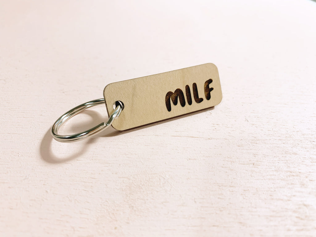 MILF laser cut keychain - Craft Boner